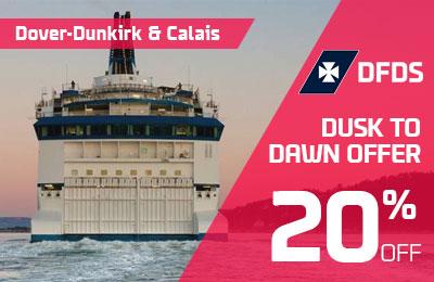 20% di sconto da Dusk a Dawn con DFDS: Dover-Calais e Dunkirk.